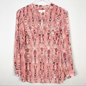 Two by Vince Camuto   Sheer Blouse with Ikat Print